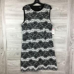 IMNYC Isaac Mizrahi Floral Stripe Lace Flare Dress